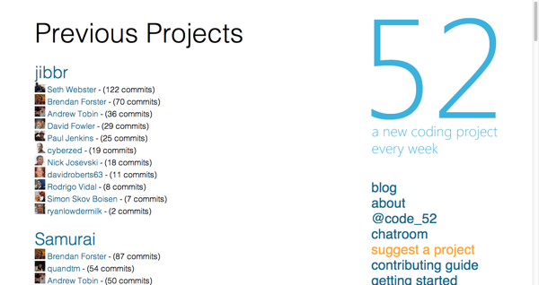 Code52 Projects List