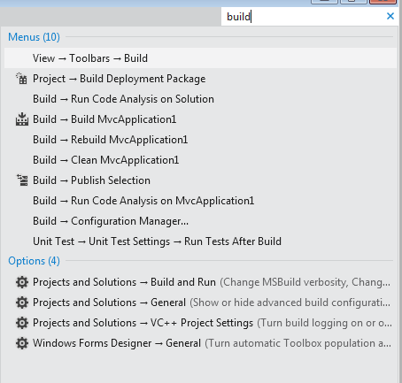 Visual Studio 2011 Beta Menu Explorer
