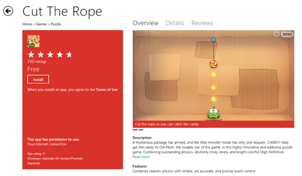 Windows 8 Market  Cut The Rope Game App RS