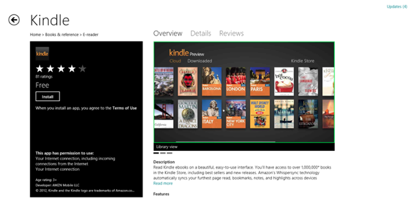 Windows 8 Market  Kindle App RS