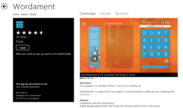 Windows 8 Market  Wordament Game App RS