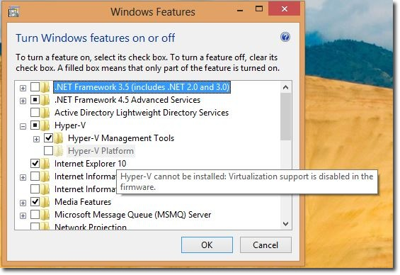 Windows8 Feature  HyperV Disabled withMessage