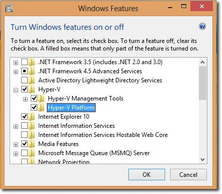 Windows8 Feature  HyperV Enabled