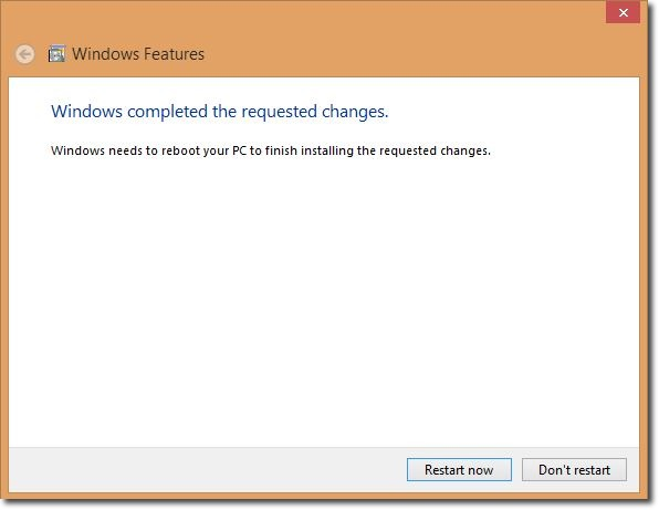 Windows8 Feature  HyperV Required Restart