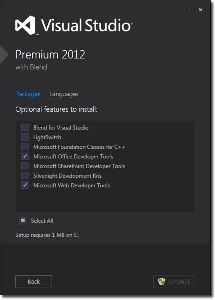 Visual Studio Installer Feature Options
