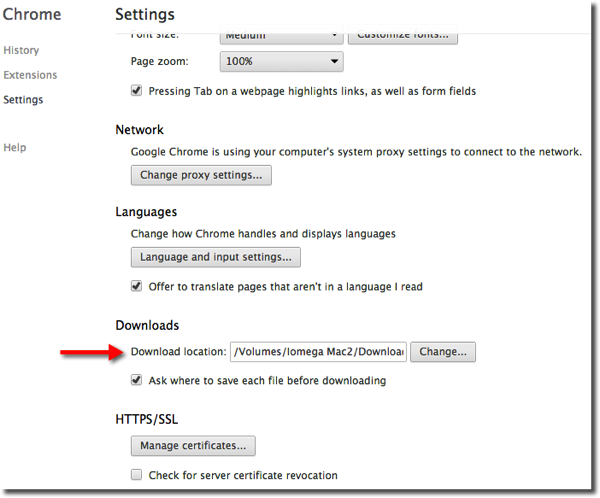 Chrome Download Location Settings