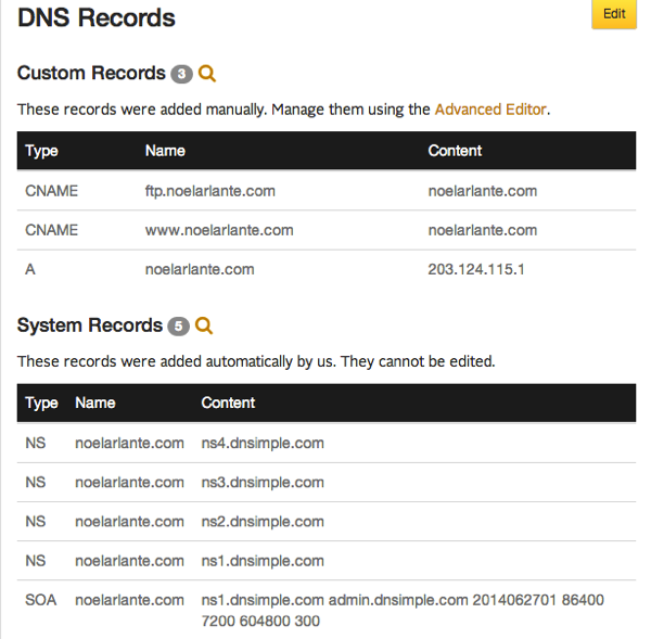 DNS  DNSimpleDNSRecords