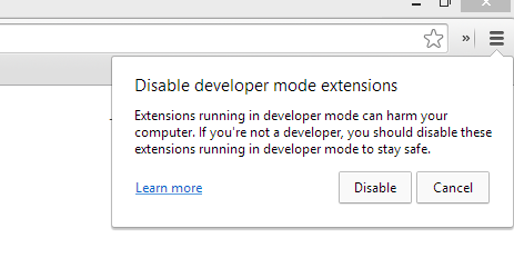Disable Developer Mode Extensions Warning