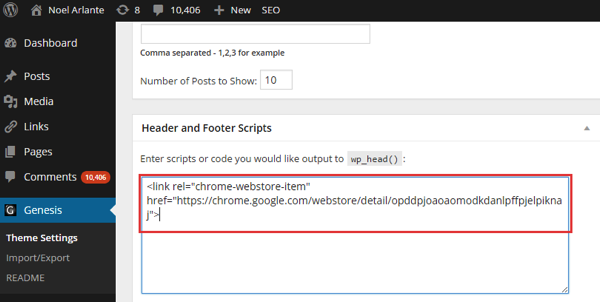 Chrome Extension Inline Installation Head Script