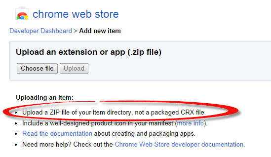 Chrome extension upload a zip