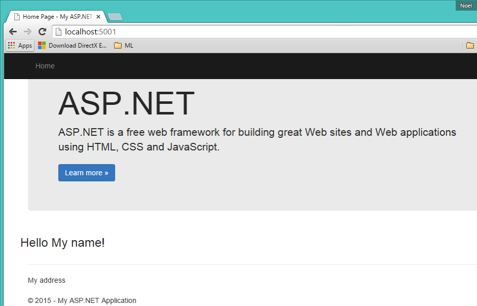 Sample ASP NET 5 Website running