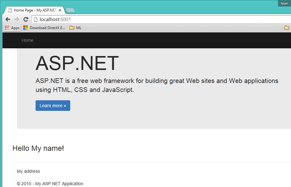 Sample ASP NET 5 Website running