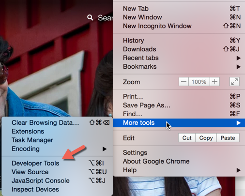 Chrome Developer Tools Options Bar